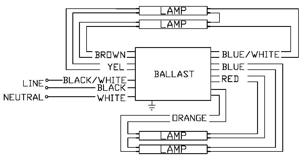 Wiring Diagram Ballast Fluorescent Lights : V fluorescent emergency ballast wiring diagram
